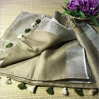 Ladies Light Grey Linen Saree