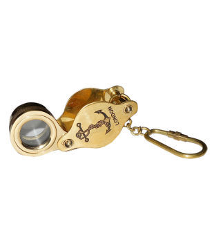 Brass Key Chain Nautical Folding Magnifier with Anchor Etching