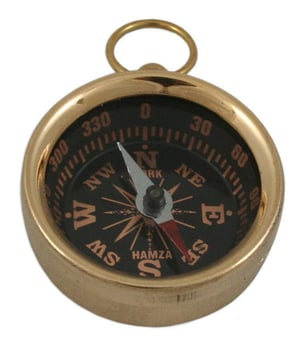 Brass Compass For Key Ring