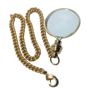 Brass Key Chain Nautical Magnifier with Chain