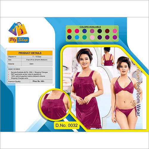 Ladies Stain Underwear And Night Dress 2 Piece Set