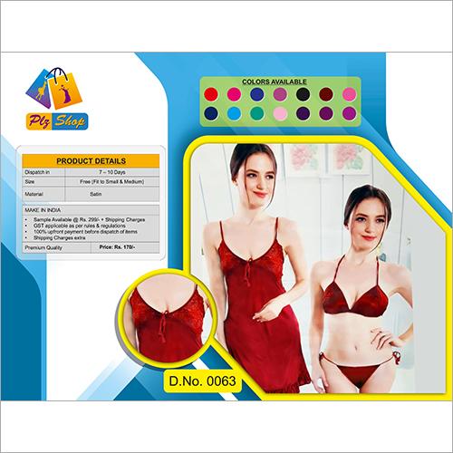 Ladies Satin Fancy Underwear And Night Dress 2 Piece Set