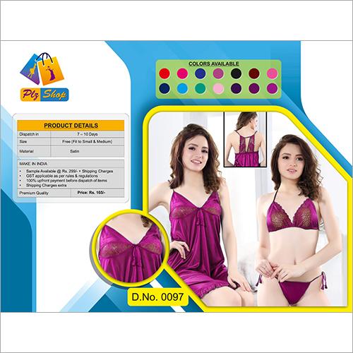 Ladies Satin Underwear And Night Dress 2 Piece Set