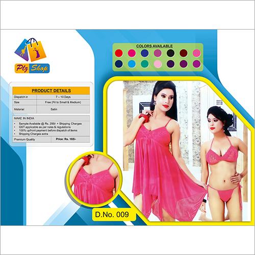Satin Underwear And Night Dress 2 Piece Set
