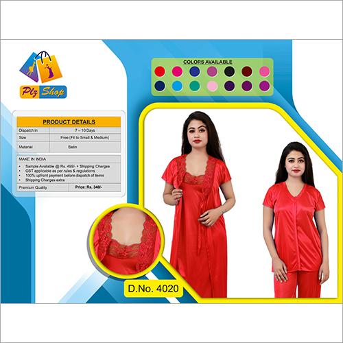 Red Blue Green Mejenta Mehroon Rani Purple Cherry Black Ladies 4 Piece Fancy Night Dress 4 Piece Set