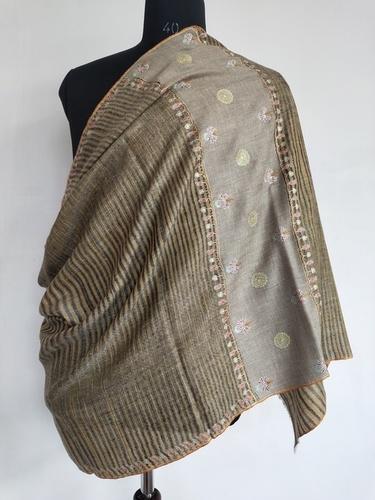 Handcrafted Sozni Embroidered ikkat Pashmina shawl