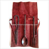 Hand Forged Medieval Cutlery Set With Leather Pouch