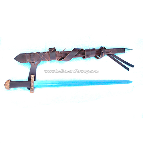 Viking Bjorn Sword With Brass Guard And Pommel And Leather Grip And a Deluxe Leather Scabbard