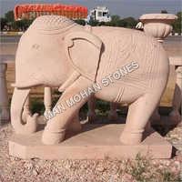 Red Sandstone Elephant Statue