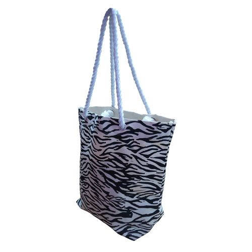 Twisted Rope Handle Zebra Print Fancy Canvas Bag