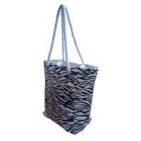 Twisted Rope Handle Zebra Print Fancy Canvas Bag