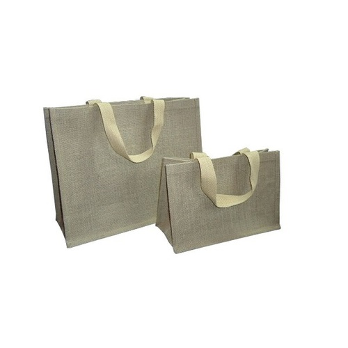 PP Laminated Jute Shopping Bag With Soft Cotton Web Handle