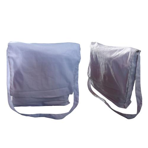 Shoulder Length Long Adjustable Handle White Color Flap Closure Cotton Bag