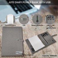 Jute Diary Power Bank 5000mah With 16 Gb Usb Pendrive