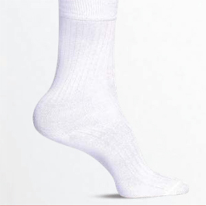 Bata White with Self Stripes Full Socks