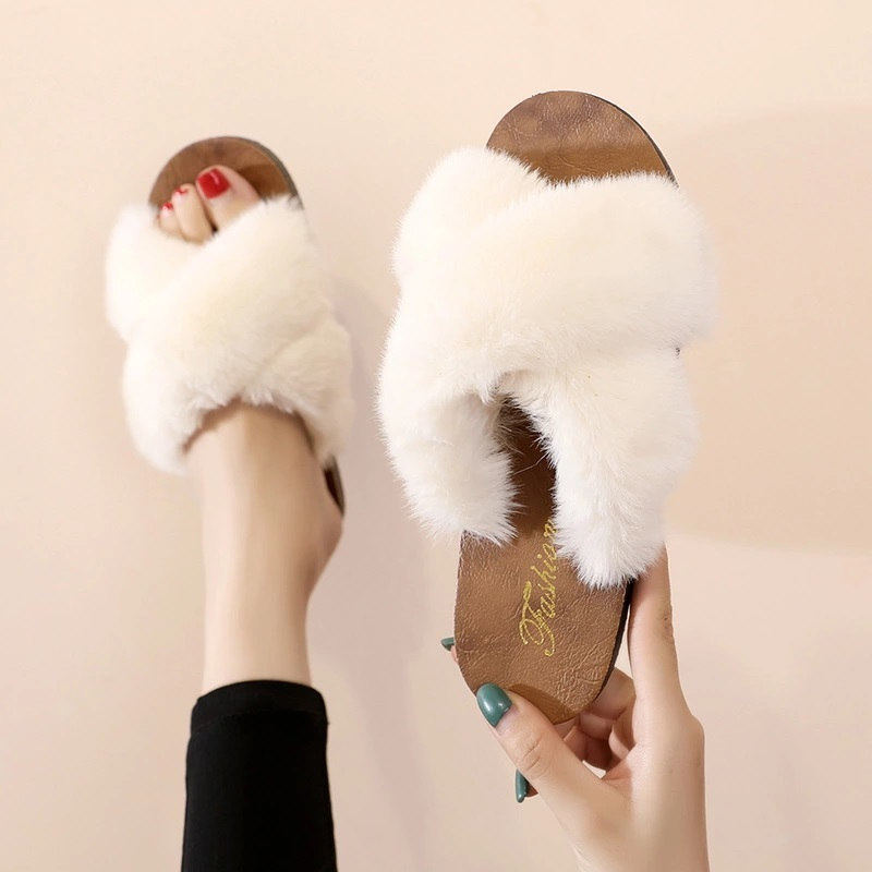 ladies Slippers (Imitation of rabbit hair) Office slippers and Shoe accessories