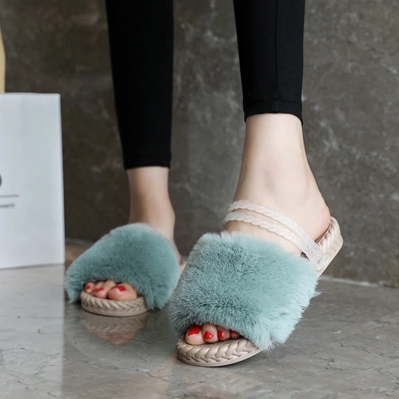 Ladies Sandals (Imitation of rabbit hair) and Shoe accessories
