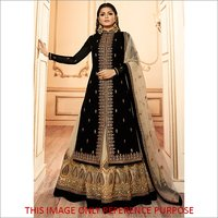 Embroidery Black Ethnic Skirt Suit
