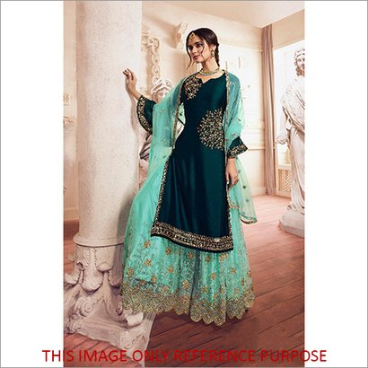 Indian Ethnic Style Heavy Embroidered  Satin Sharara Suit