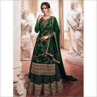 Green Golden Embroidered Designer Sharara Style Suit