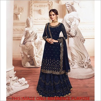 Washable Heavy Embroidery Blue  Sharara Suit