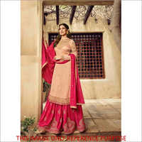 Heavy Net With Embroidery Pink Sharara Suit