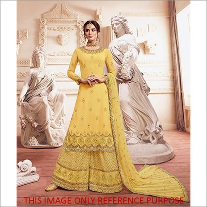 Washable Yellow  Embroidered Designer Sharara Style Suit