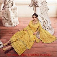 Yellow  Embroidered Designer Sharara Style Suit