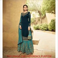 Ethnic Style Heavy Embroidered  Satin Sharara Suit