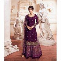 Heavy Embroidery Violet Designer Sharara Suit