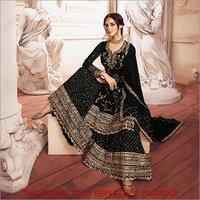 Black Golden Embroidered Designer Sharara Style Suit
