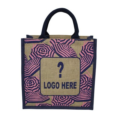 Re-Useable Multi Color Customized Print Padded Rope Handle Pp Laminated Jute Bag