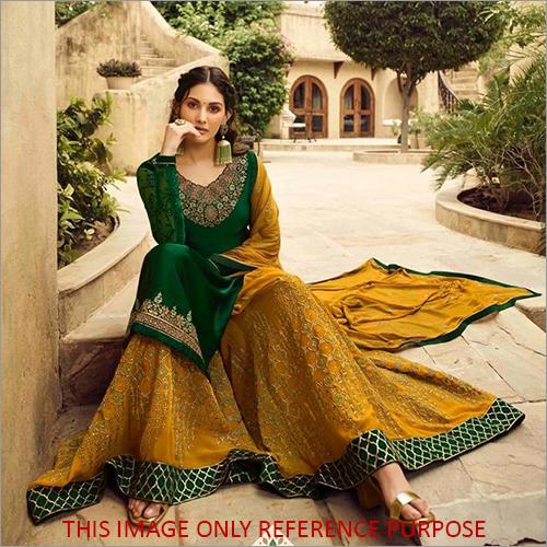 Heavy Embroidered Pakistani Green Sharara Suit