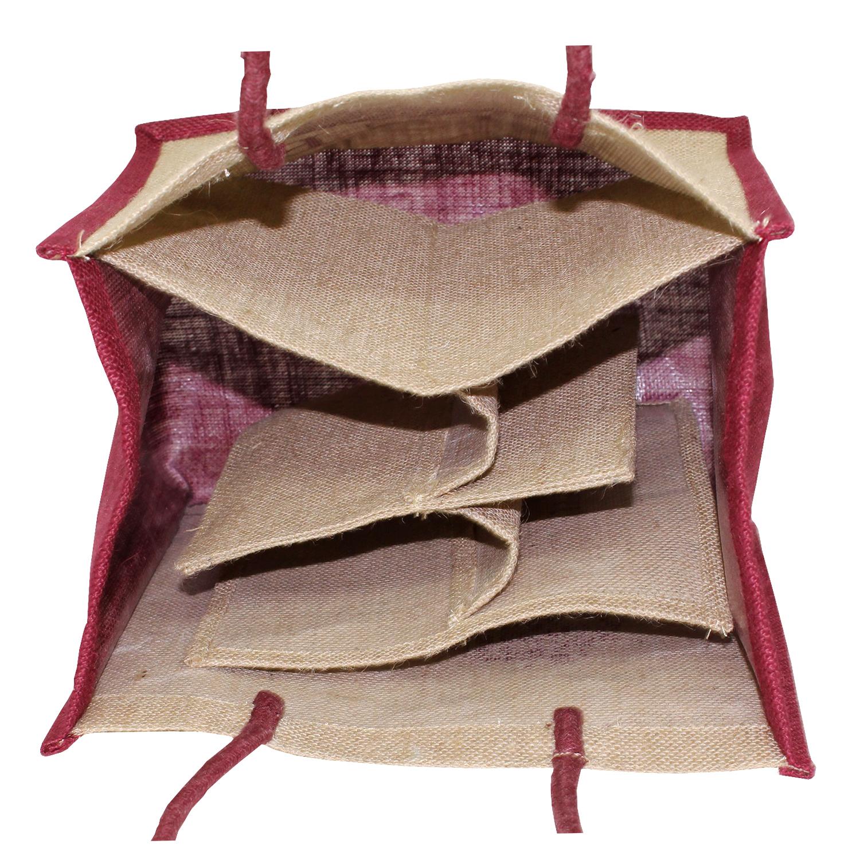 Inside Folding Partition Rope Handle Pp Laminated 6 Bottle Bag