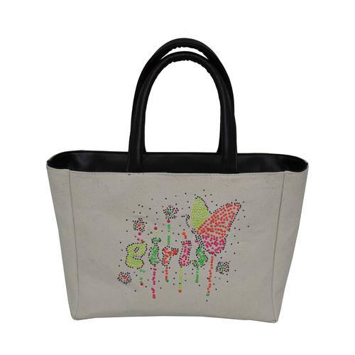 Beaded Work Polyester Lined Eva Padded Pu Handle Zip Closure Canvas Bag