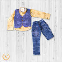 Sand Gold Floral Shirt Design And Jacket With Jeans