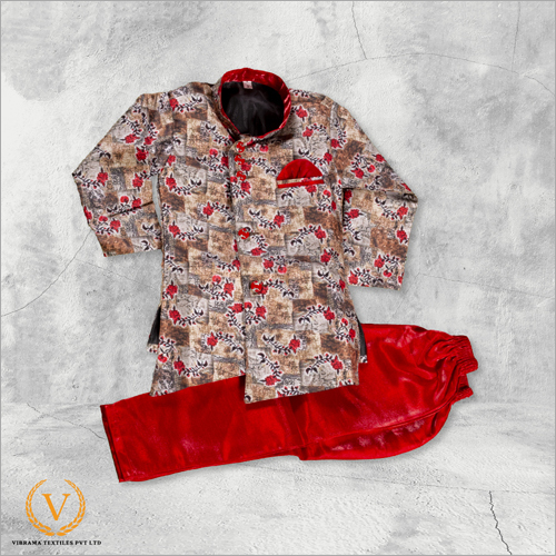 White And Red Floral Indo Western Jodhpuri