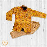 Dark Orange And Brown Floral Indo American Jodhpuri