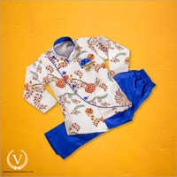 White And Blue Red Floral Indo Western Jodhpuri