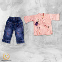 Girls Pink Tshirt With Jeans