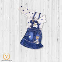 Girls White Floral Tshirt With Denim Frock