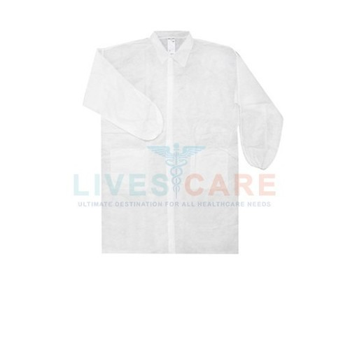 Disposable Labcoats with collar, PP 25gsm, XL, 115x69cm, white colour