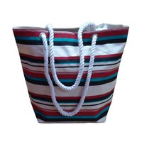 Twisted Rope Handle Hanging Zip Pocket Multi Color Stripe Print 12 OZ Natural Canvas Tote Bag