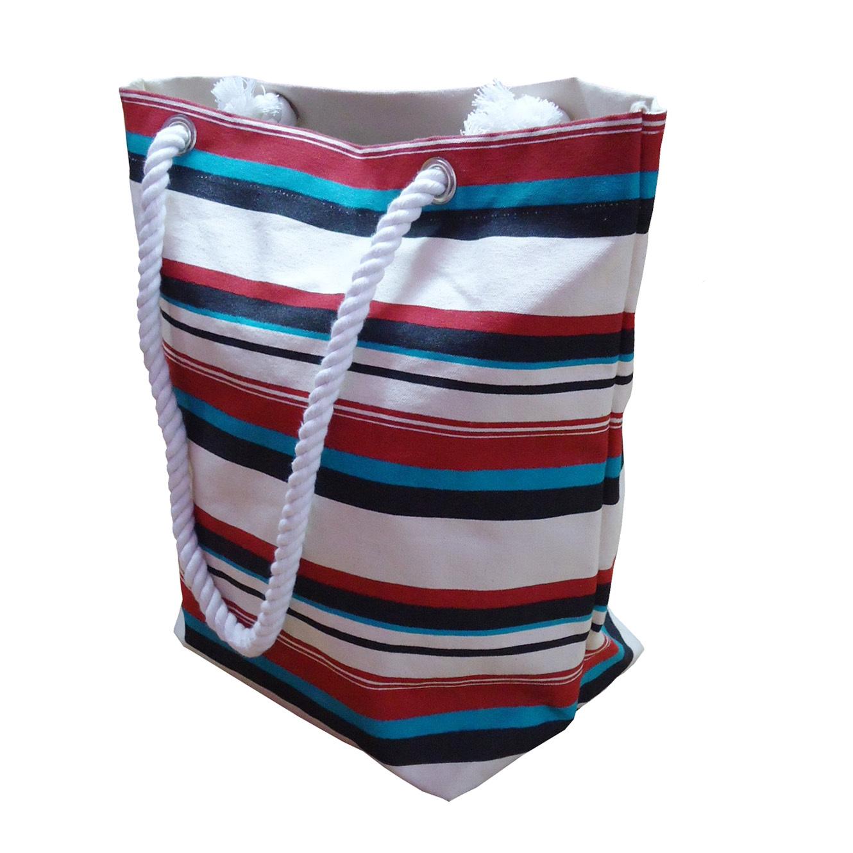 Twisted Rope Handle Hanging Zip Pocket Multi Color Stripe Print 12 OZ Natural Canvas Tote Bag