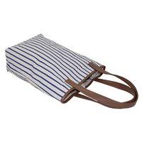 PU Trimmed Handle & Top Allover Stripe Print 12 Oz Natural Canvas Tote Bag