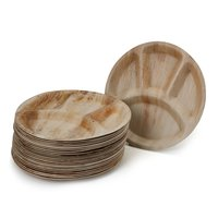 Disposable Areca Palm Leaf Plates With 4 Compartments - 12 Inch Round | 100% Natural, Export Quality, Eco Friendly, Available In Bulk