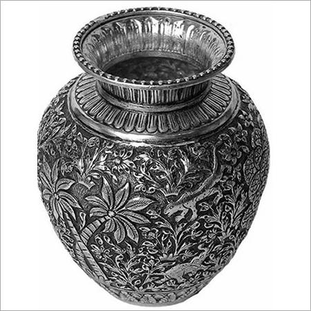 Pure Silver Oxidised Design Handicraft Pots