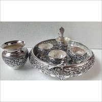 Pure Silver Oxidised Design Pooja Items