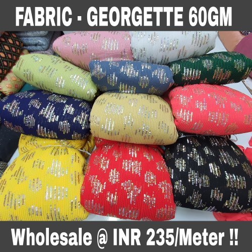 60gm GEORGETTE TWIN MULTI SEQUENCE EMBROIDERY WORK