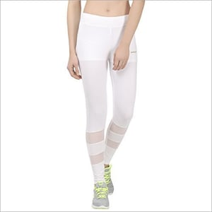 Ladies White Solid Slim Fit Sports Tights